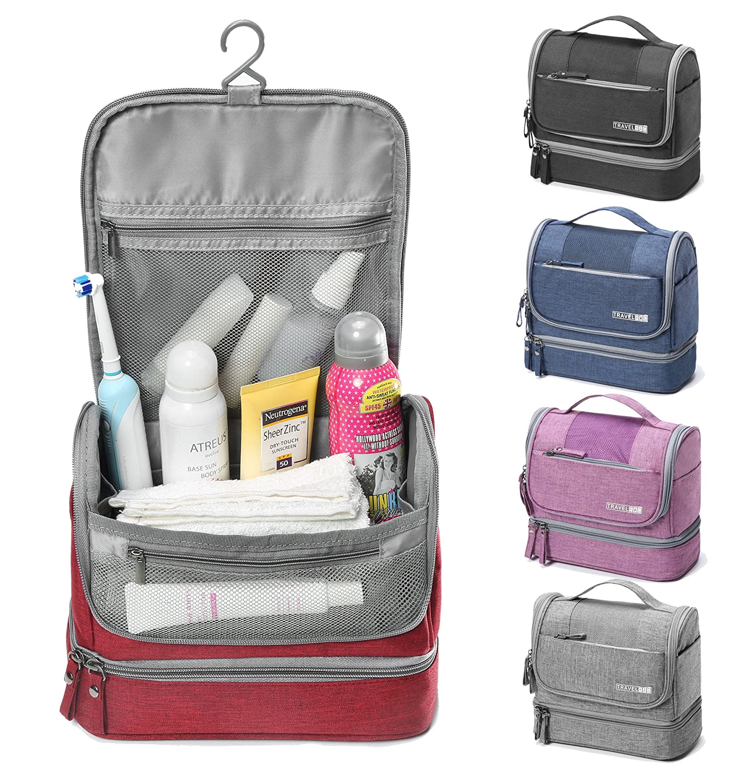 f3a9e7325a WYTartist Hanging Travel Toiletry Bag for Men and Women with Dry and Wet  Separation 2 Layers