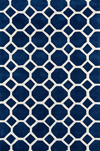 Momeni Rugs Bliss Collection, Hand Carved Tufted Contemporary Area Rug, 2 x 3 , Navy Blue