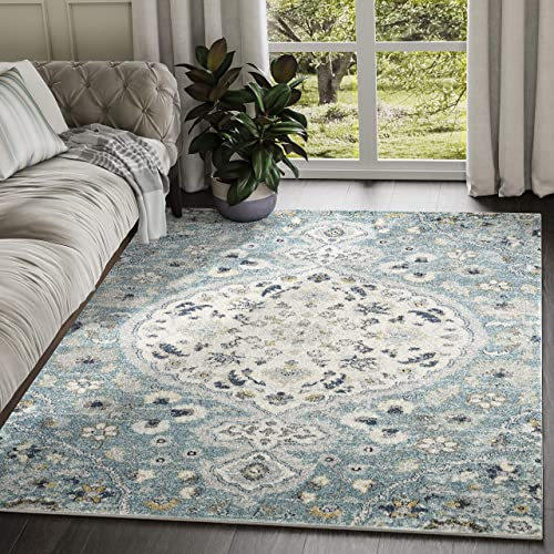 Abani Rugs Large Ivory Blue Floral Motif Distressed Vintage Classic Area Rug Modern Style Accent, Eden Collection Turkish Made Superior Comfort Construction Stain Shed Resistant, 4 x 6 Feet