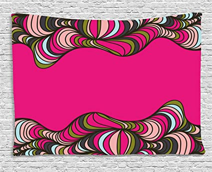 Amazon.com: Ambesonne Trippy Tapestry by, Wavy Psychedelic Borders ...