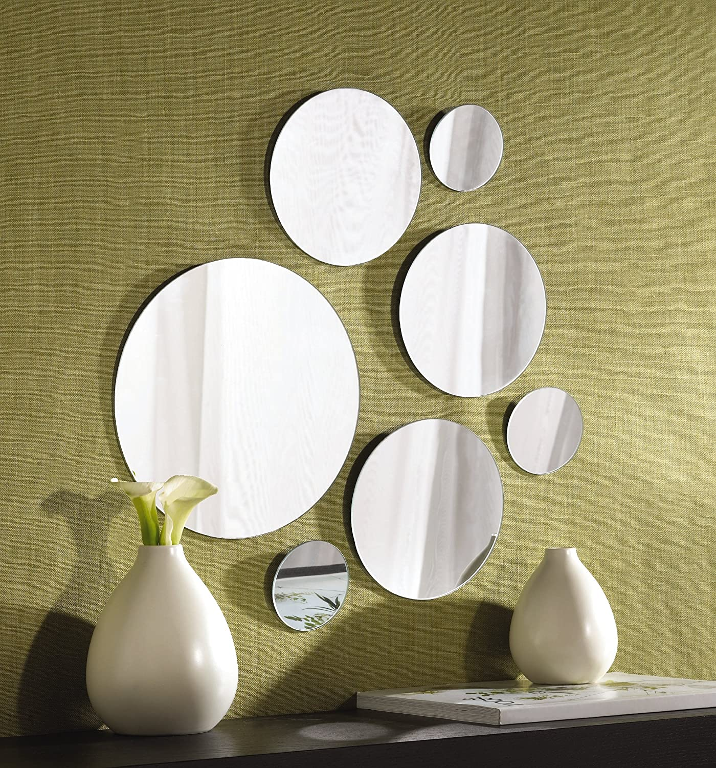 amazoncom elements round wall mount mirror set of 7 assorted sizes home kitchen - Mirrors And Wall Art