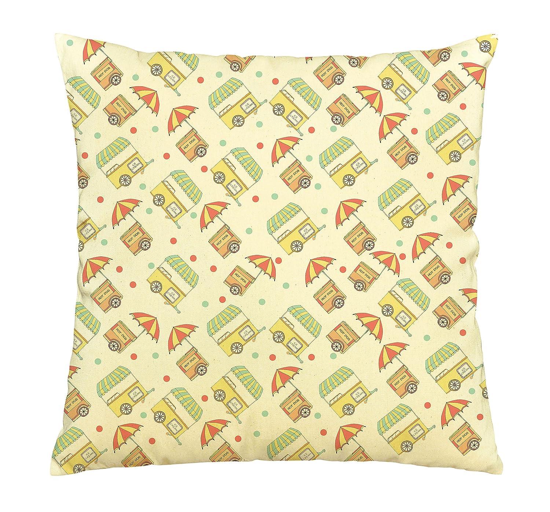 Hechos a mano de dibujo de Ice Cream & carrito de Hot Dog Print Funda de almohada de algodón vplc _ 03: Amazon.es: Hogar
