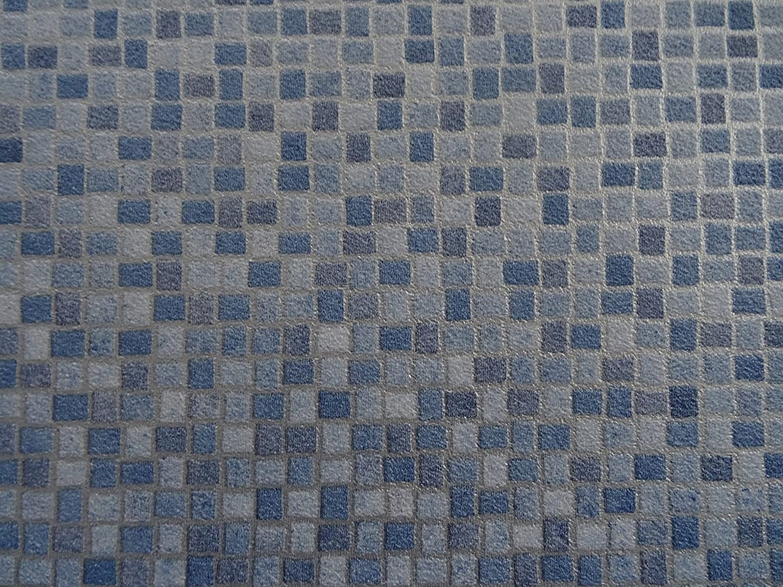 L/änge: 100 cm, Breite: 200cm von Alpha-Tex 9.95/€//m/² blaut/öne PVC in Mosaik-Optik