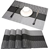 Famibay Bamboo PVC Weave Placemats Non-Slip Kitchen Table Mats Set of 4 - 30x45 cm Color 6