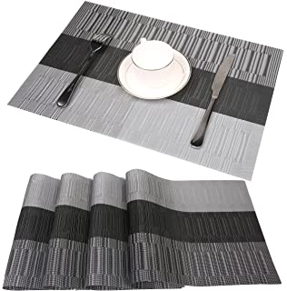 famibay bamboo pvc weave placemats non slip kitchen table mats set of 4 30x45 - Kitchen Table Mats