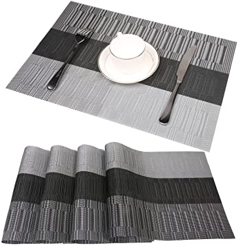 Famibay Bamboo PVC Weave Placemats Non Slip Kitchen Table Mats Set Of 4    30x45