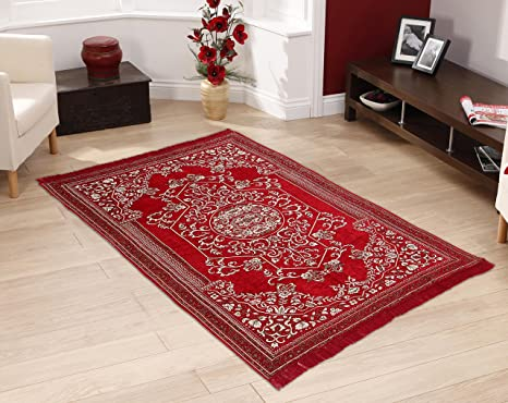 """Warmland Traditional Chenille Carpet - 60""""x 84"""", Red 5 Carpets at amazon"""