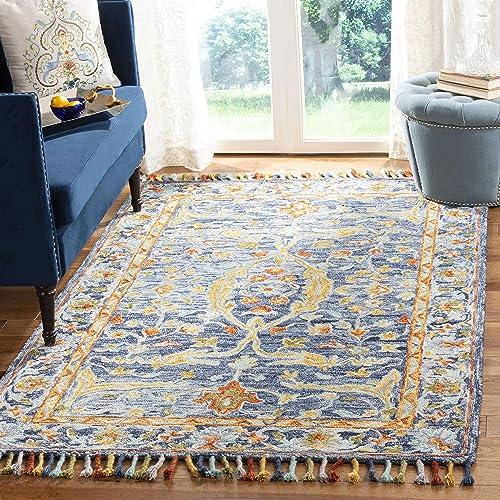 Safavieh Aspen Collection APN116M Handmade Boho Braided Tassel Wool Area Rug, 9 x 12 , Blue Rust