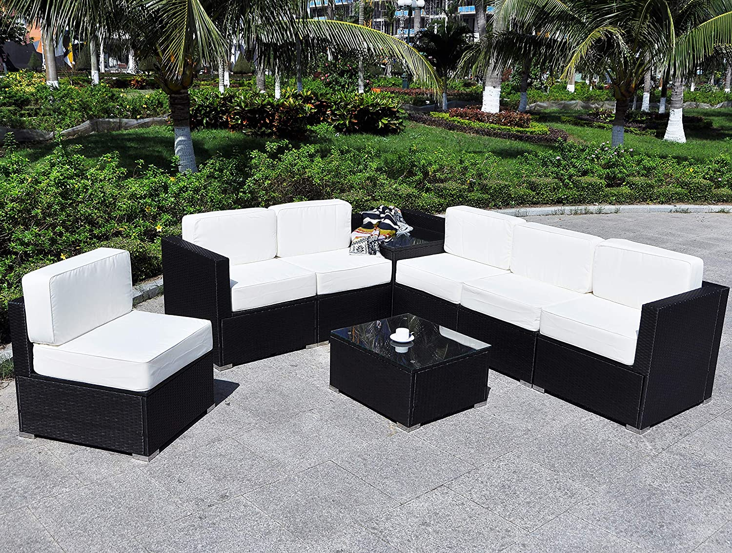 Mcombo Patio Furniture Sectional Set Outdoor Wicker Sofa Lawn Rattan Conversation Chair with 6 Inch Cushions and Tea Table Cream White 6082-8PC