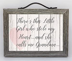 """Grand Expressions - 5"""" x 7"""" Distressed Wooden Frame with Leather Hanger/Accent - Farmhouse Decor Inspired Sign for Grandmothers -""""There's this little Girl who Stole my Heart.and she calls me Grandma"""""""
