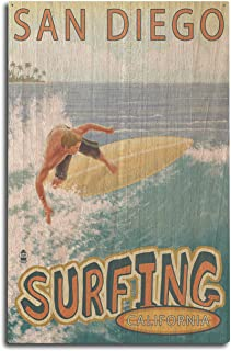 product image for Lantern Press San Diego, California - Surfer Tropical (10x15 Wood Wall Sign, Wall Decor Ready to Hang)