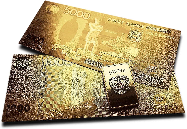Ruso 500/Rublo de billetes hermosa chapado en oro regalo.