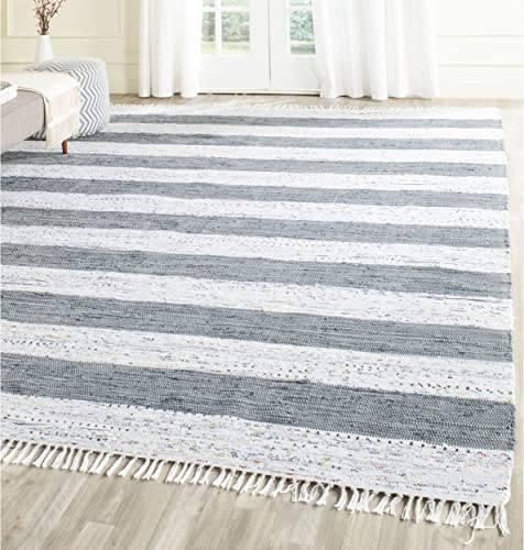Safavieh Montauk Collection MTK720A Handmade Flatweave Ivory and Grey Cotton Area Rug 10 x 14