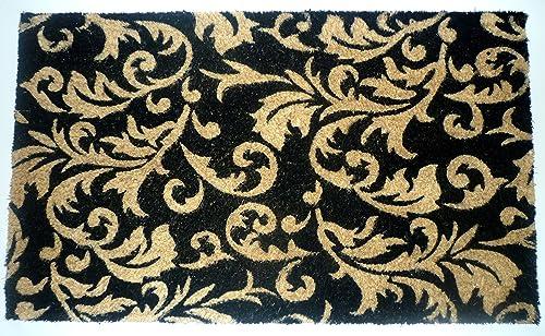 Geo Crafts Vinyl Back Gold Scroll Leaves Doormat