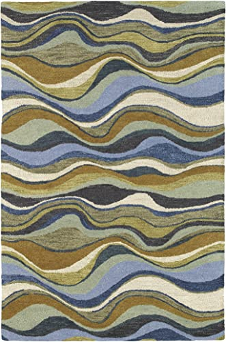Kaleen Rugs Casual Collection 5050-17 Blue Hand Tufted 8 x 11 Rug