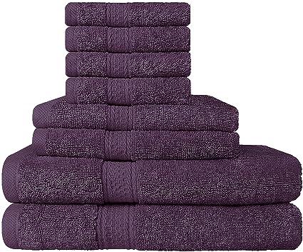 Premium 8 Piece Towel Set (Plum); 2 Bath Towels, 2 Hand Towels