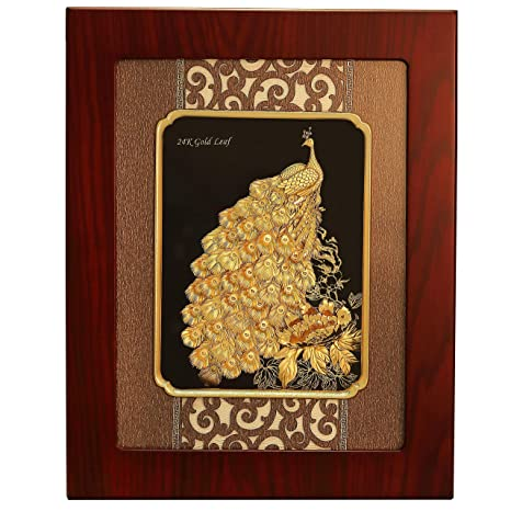 6fac58f639eb Buy PBK Retails 24Karat Peacock Pure Gold Frame 3-D Wall Hanging Frame in  Black and Golden Finish (Big) Online at Low Prices in India - Amazon.in