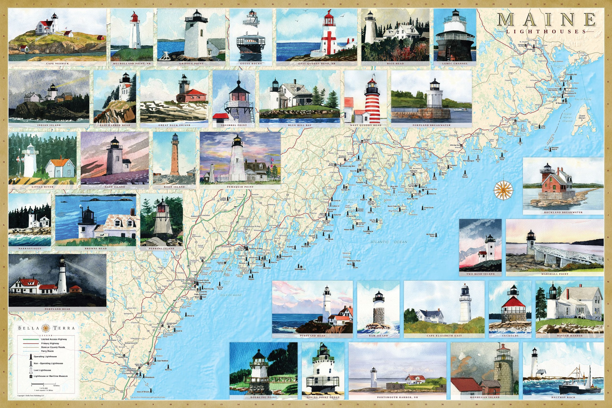Maine Lighthouse Map Maine Lighthouse Map | compressportnederland Maine Lighthouse Map