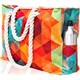 "Beach Bag XXL (Huge). 100% Waterproof. L22""xH15""xW6"" (56x38x15cm). Rope Handles, Top Zipper, Outside Pockets. Shoulder Beach Tote has Phone Case, Built-in Key Holder, Bottle Opener"