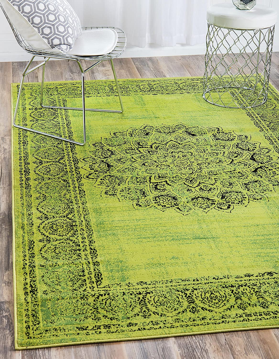 Unique Loom Imperial Collection Modern Traditional Vintage Distressed Sage Green Area Rug (5' 0 x 8' 0)