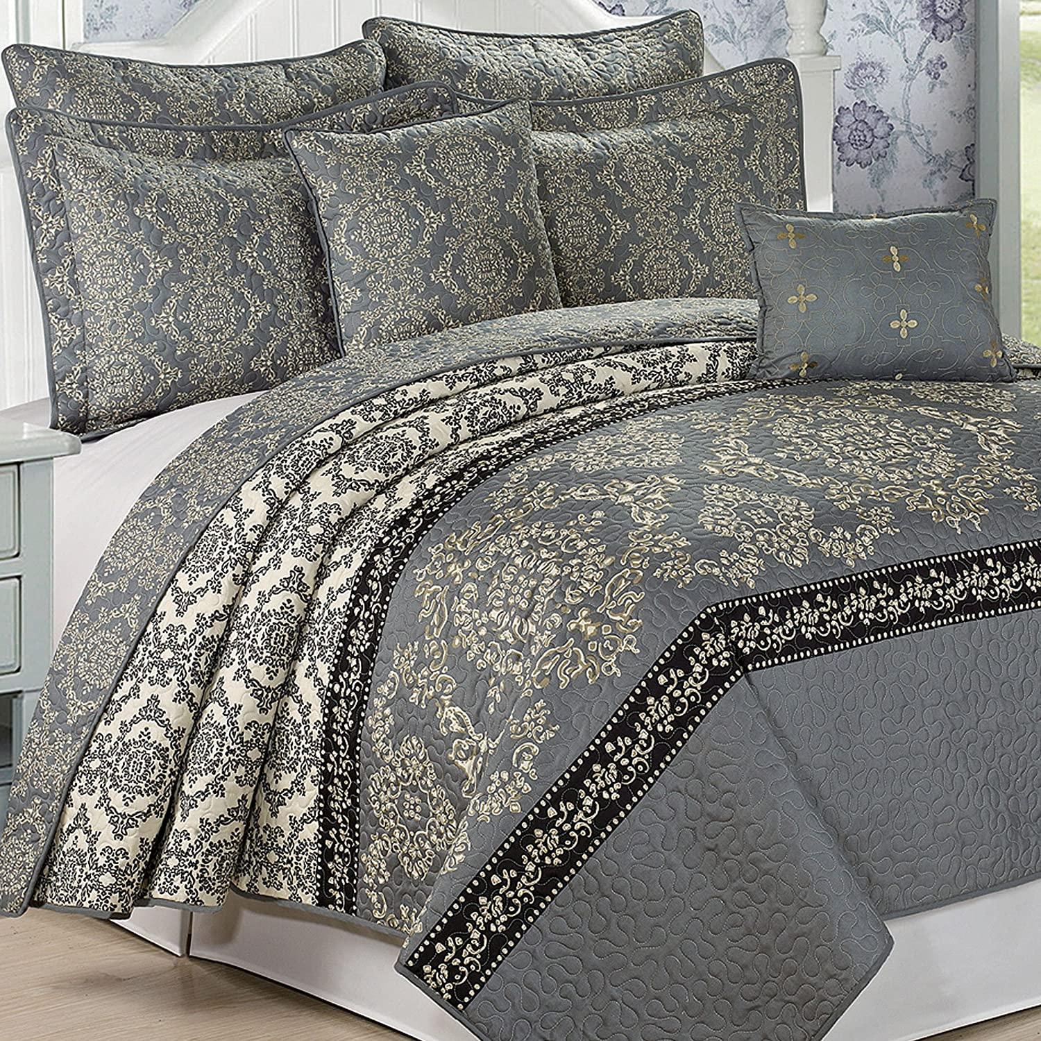 Charcoal King Serenta Printed Microfiber 7 Piece Mystic Bedspread Quilts Set