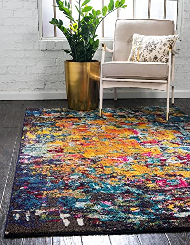Unique Loom Estrella Collection Colorful Abstract Multi Area Rug 5' 0 x 8' 0