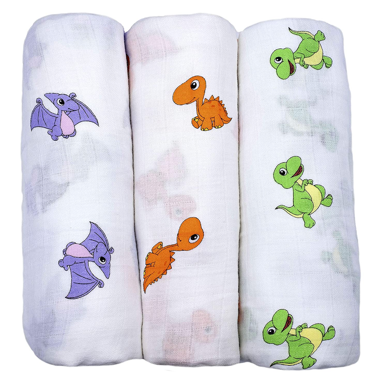DOG Organic Bamboo Muslin Summer Baby Wrap Boys Swaddle Sheet 120cm BLUE NEW