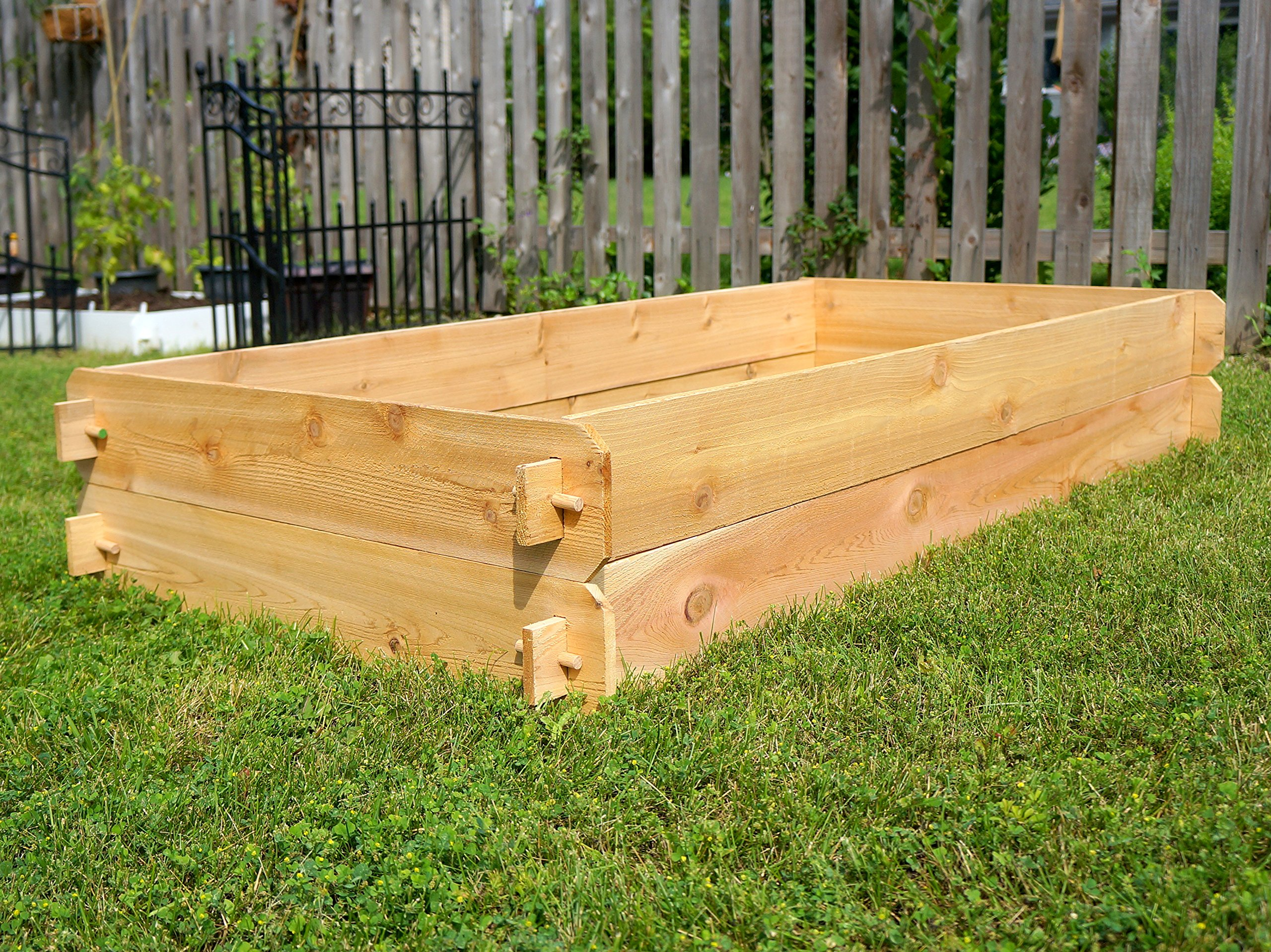 Timberlane Gardens Raised Bed Kit Double Deep, Western Red Cedar Mortise Tenon Joinery, 3' W x 6' L 3 Raised garden bed kit proudly made in homer glen, Illinois USA Constructed of select western red cedar Handcrafted mortise & tenon joinery