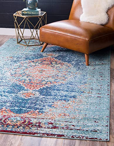 Unique Loom Vita Collection Traditional Over-Dyed Vintage Turquoise Area Rug 9 10 x 13 0
