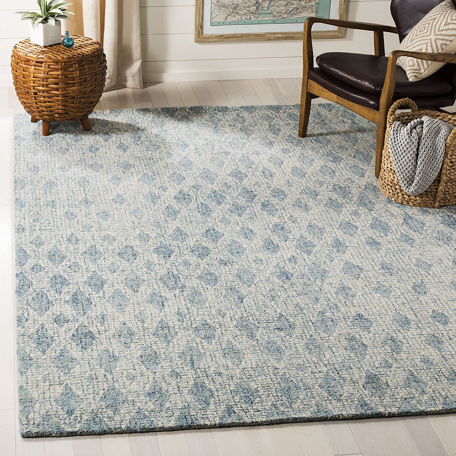 Amazon Com Safavieh Abstract Collection Abt206a Handmade Premium Wool Area Rug 9 X 12 Ivory Blue Furniture Decor