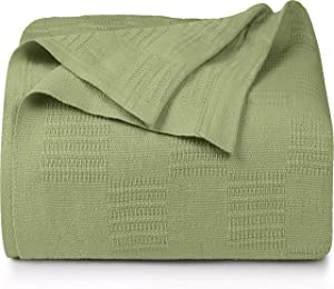Utopia Bedding Premium Cotton Blanket Queen Sage Green - Soft Breathable Thermal Blanket 350 GSM - Ideal for Layering Any Bed