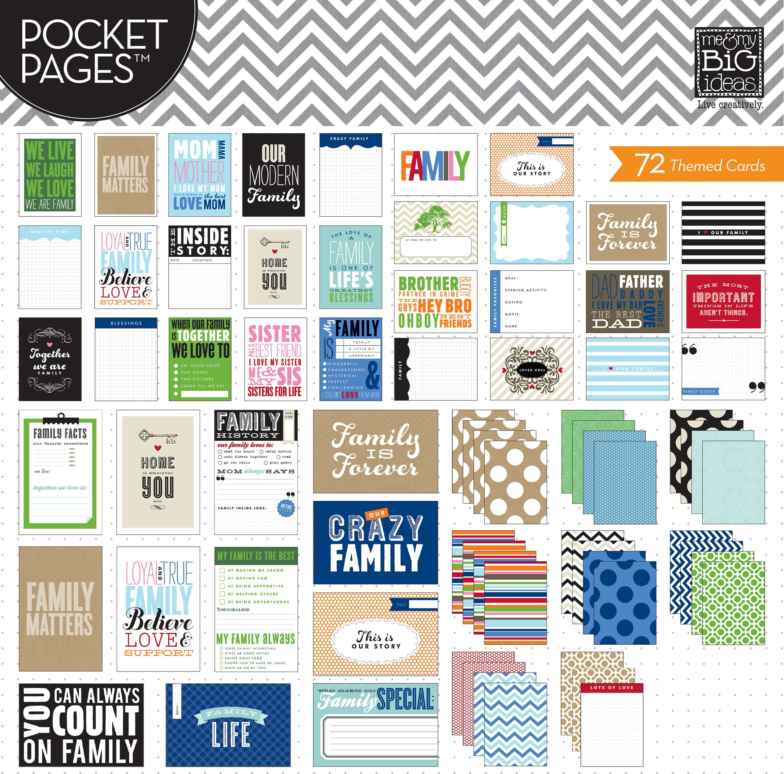 me & my BIG ideas Pocket Pages Journaling Cards, Family