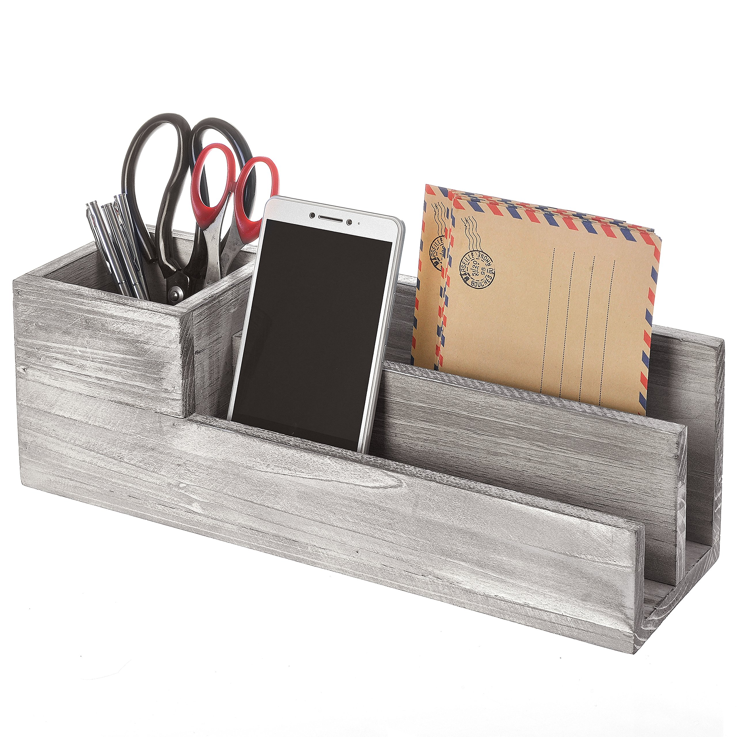 Rustic Whitewashed Gray Wood Desktop Office Supplies Caddy & 2 Slot Letter Mail Sorter Organizer, Brown