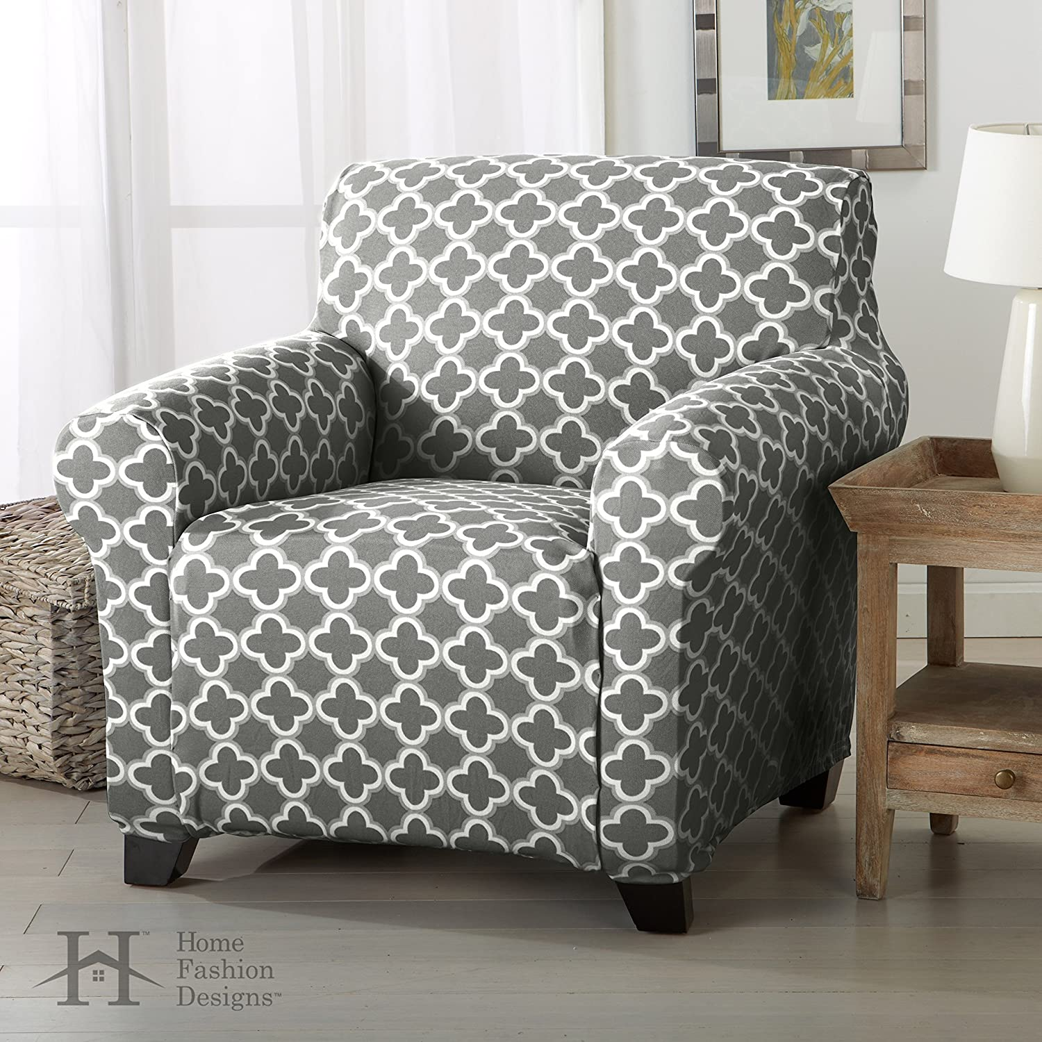Brenna Collection Basic Strapless Slipcover. By Home Fashion Designs Brand.  (Chair, Charcoal)