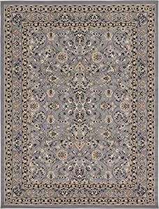 Unique Loom Kashan Collection Traditional Floral Overall Pattern with Border Gray Area Rug (9' 0 x 12' 0)