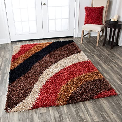 Rizzy Home Kempton Collection Polyester Area Rug 5 X 7 Multi Red Brown Khaki Camel Black Stripe Furniture Decor