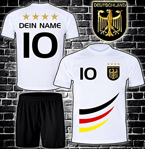 ElevenSports Deutschland Trikot + Hose mit GRATIS Wunschname + Nummer + Wappen Typ #D 2019 im EM/WM Weiss - Geschenke für Kin