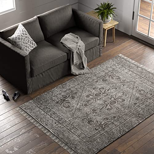 Stone Beam Mid-Century Modern Constellation Wool Area Rug, 5 x 8 Foot, Charcoal