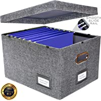 New and Improved Collapsible Hanging File Storage Organizer Box | Improved Function & Premium Quality | Office Hanging File Box Storing Solution | Fits Both Letter & Legal Size Folders | Grey | 1 Pack