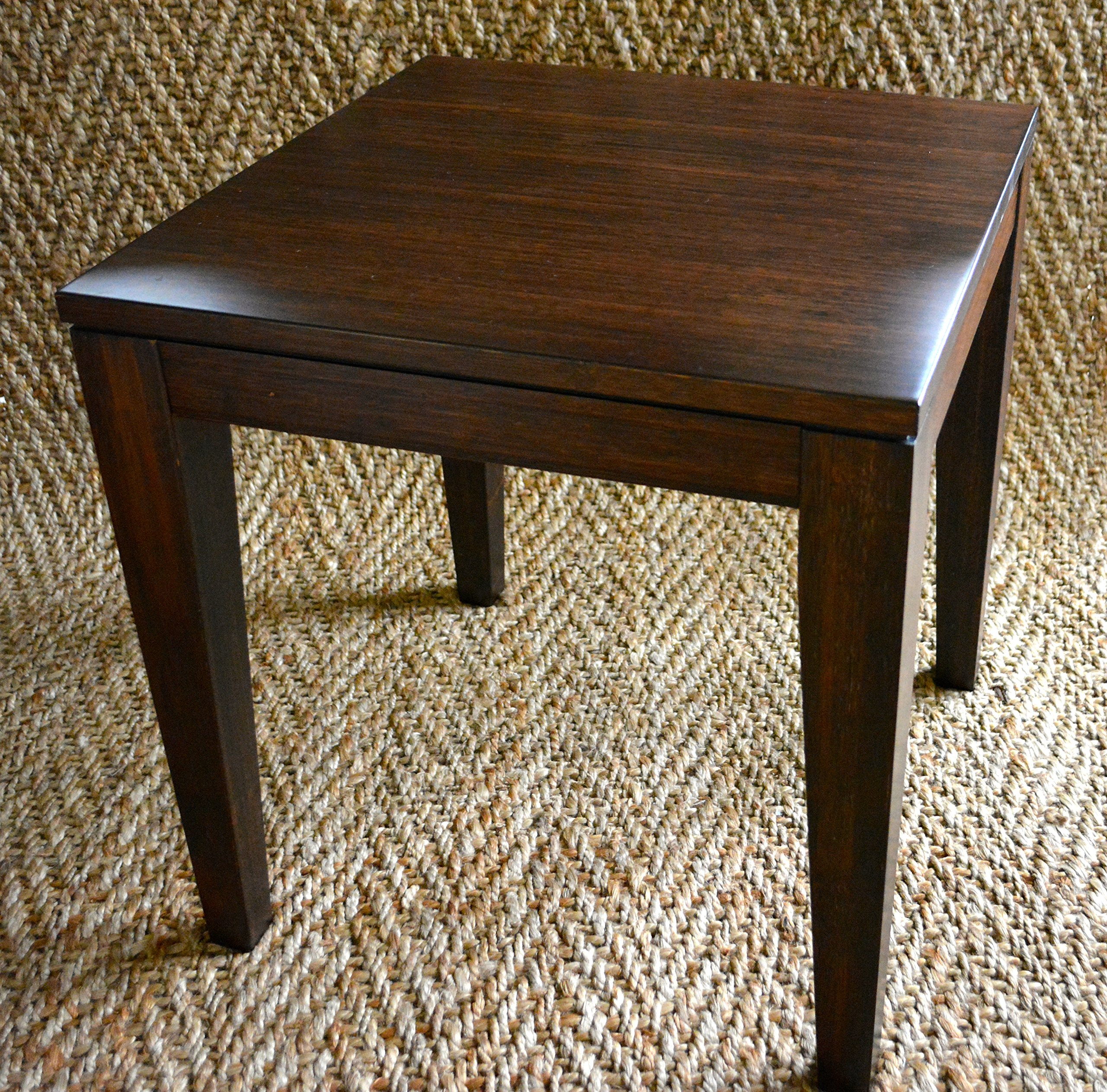 Bamboogle Interiors 30-2020J Brazil Collection Modern Bamboo End Table in Rich Java Espresso Finish