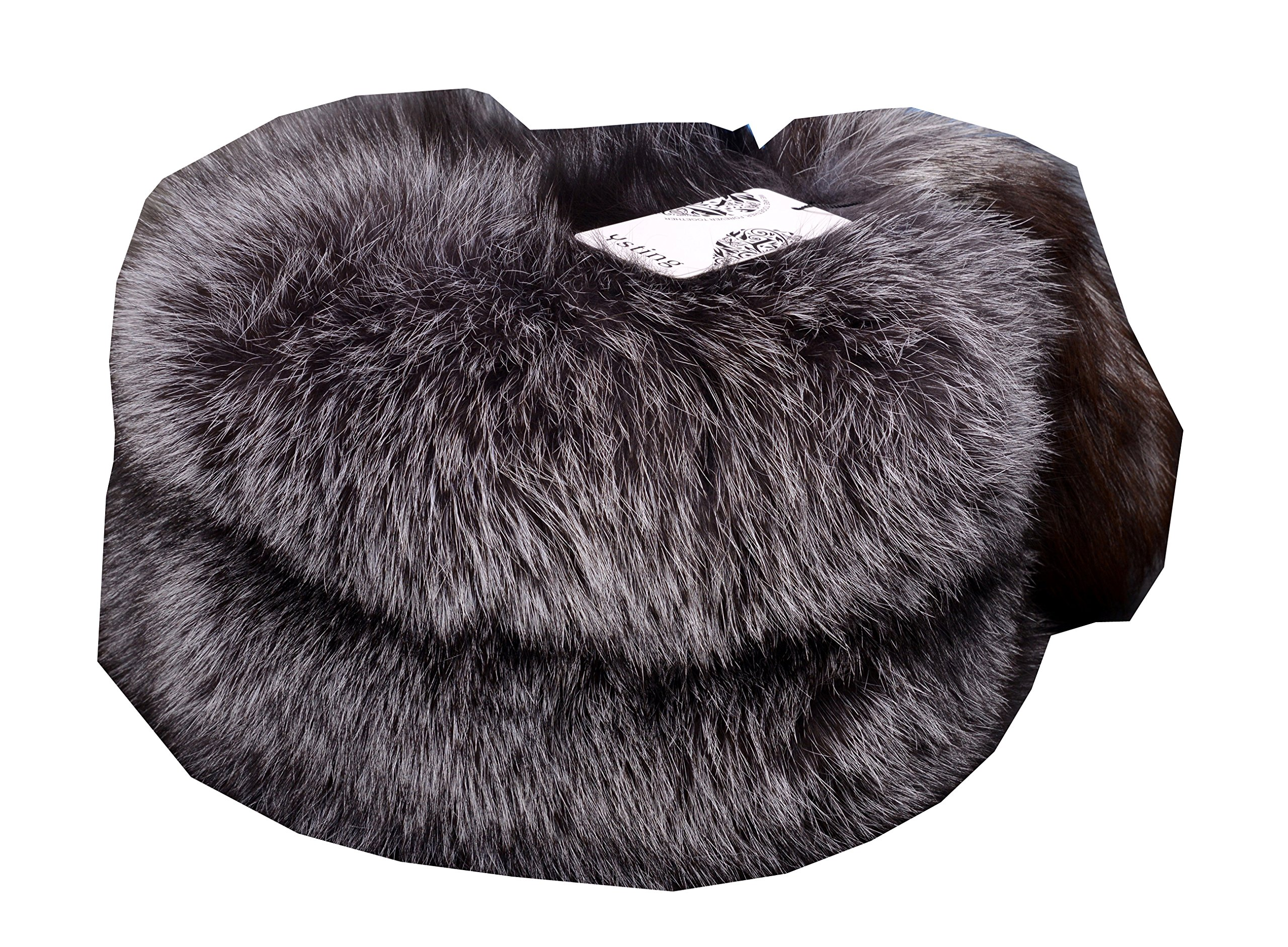 Ysting Women's Mongolian Genuine Fox Fur Hat with Tail Russian Style Winter Hats (Silver Fox Natural Color)