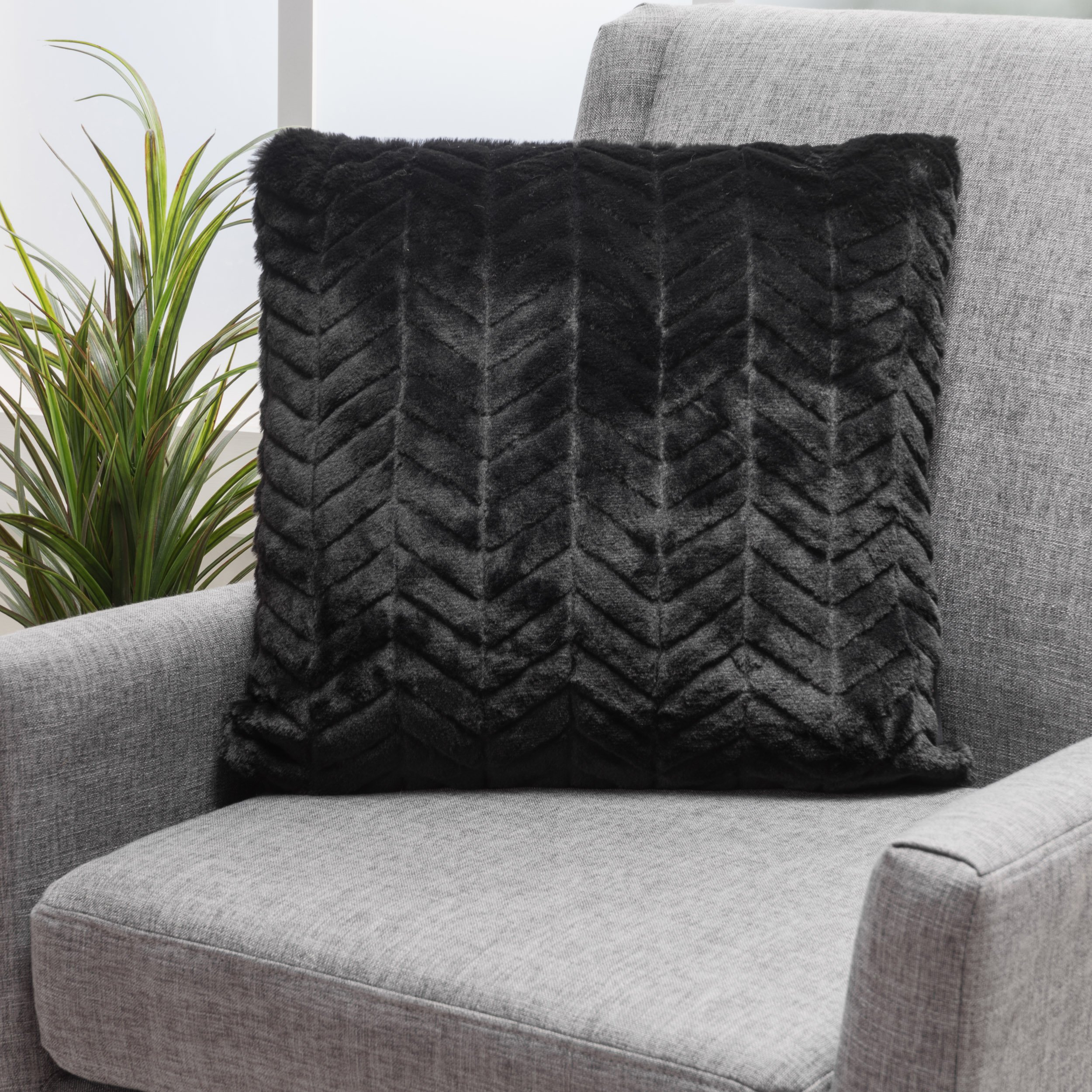 CDM product Christopher Knight Home Ellison Black Decorative Faux Fur Fabric Throw Pillow (Set of 2) | Ideal for The Living Room or Bedroom | Plush Texture big image