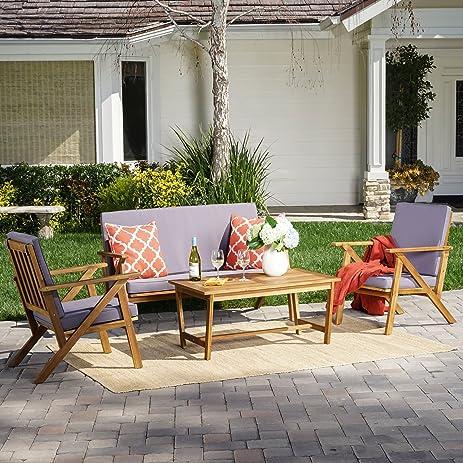 Manarola Patio Furniture ~ 4 Piece Outdoor Patio Conversation (Chat) Set  (Natural Wood