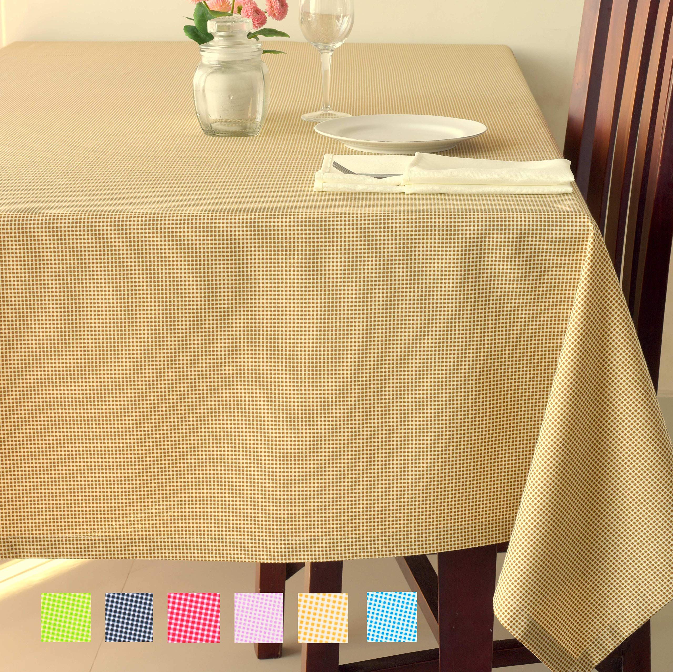 Checkered Poly-Cotton Tablecloth - Soft Table Cover Kitchen Dining Room Restaurants Cafés Rectangle Square - Thanksgiving Christmas Dinner Wedding New Year Eve (BROWN Checkered, Square 70''x70'')