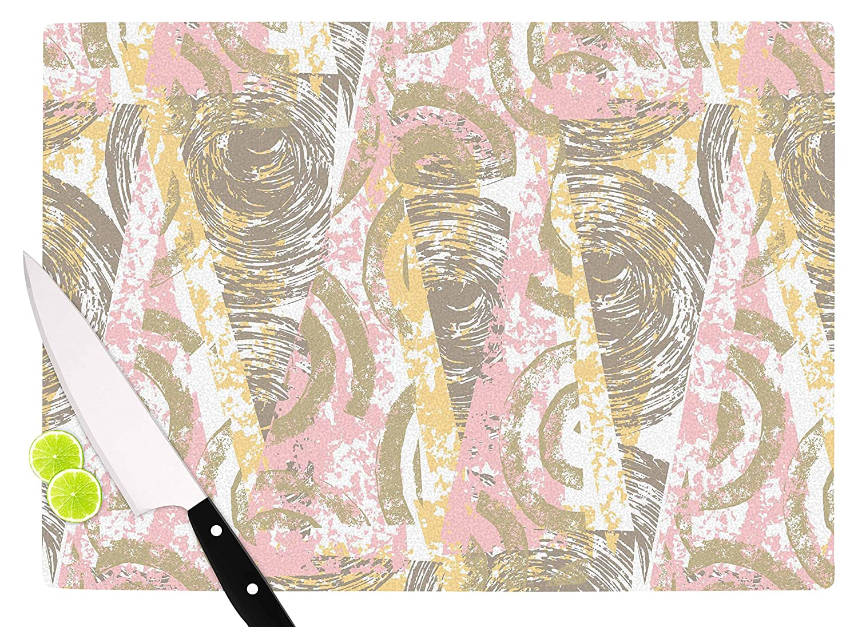 11.5 x 15.75 KESS InHouse ChickaprintScrubs Pink Gold Cutting Board Multicolor