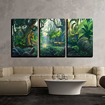 Amazon.com: wall26 - 3 Piece Canvas Wall Art - Illustration ...