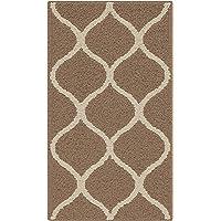 Maples Rugs Rebecca Contemporary Kitchen Rugs Non Skid Accent Area Carpet [Made in USA], 1'8 x 2'10, Café Brown/White