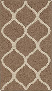 product image for Maples Rugs Rebecca Contemporary Kitchen Rugs Non Skid Accent Area Carpet [Made in USA], 1'8 x 2'10, Café Brown/White