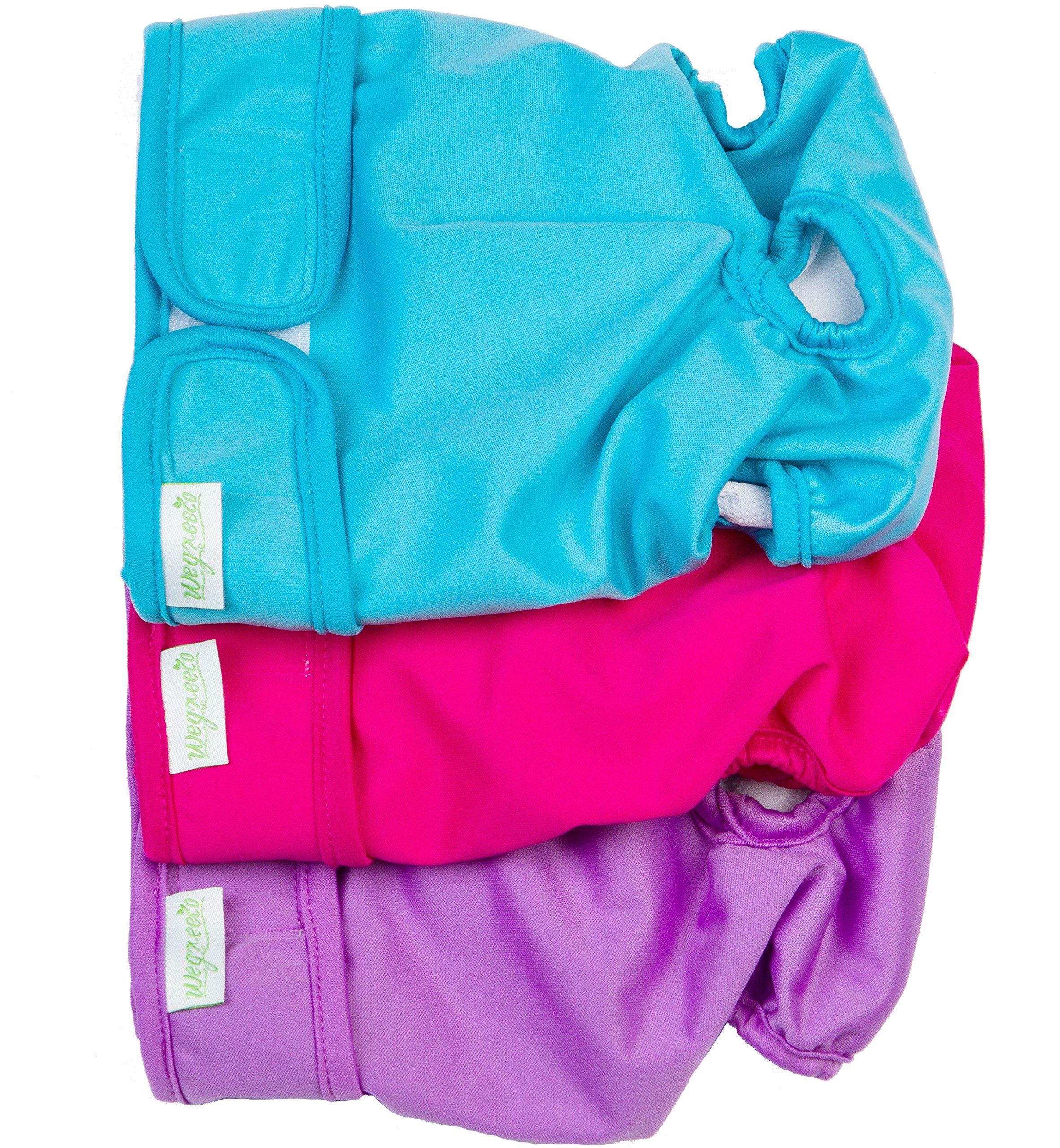 Wegreeco Washable Reusable Premium Dog Diapers, Medium, Bright Color, for Female Dog, Pack of 3