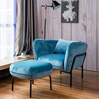 Art Leon Modern Simplicity Industrial Style Frabic Club Chair with Ottoman One Seater Velvet Fabric (Mineral Blue) Designed by Furniture